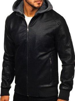 Čierna pánska koženková bunda Bolf 92525