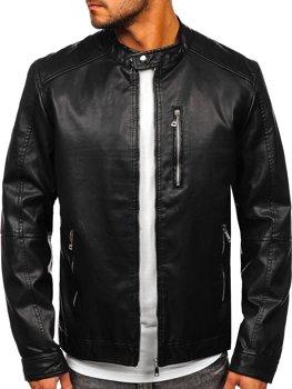 Čierna pánska koženková bunda s kapucňou Bolf 1150