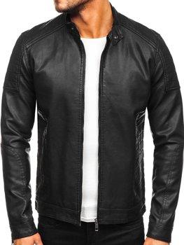 Čierna pánska koženková motorkárska bunda Bolf 88901