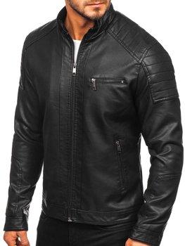 Čierna pánska koženková motorkárska bunda Bolf 88903