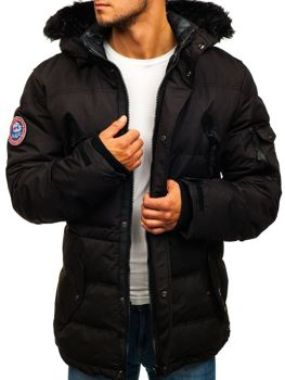 Čierna pánska lyžiarska zimná bunda parka BOLF 5423
