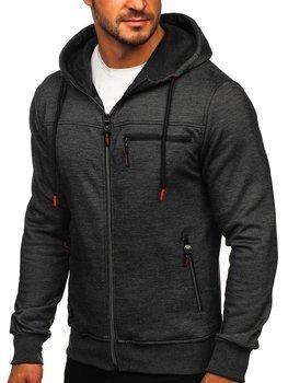 Čierna pánska mikina na zips s kapucňou Bolf TC994