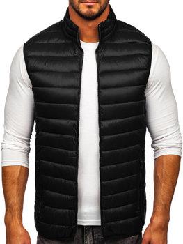Čierna pánska prešívaná vesta bez kapucne Bolf LY32