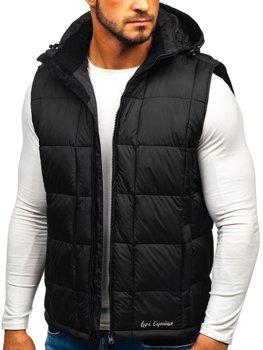 Čierna pánska prešívaná vesta s kapucňou BOLF A5502
