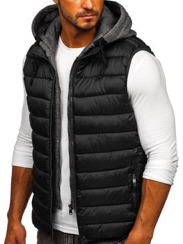 Čierna pánska prešívaná vesta s kapucňou Bolf B2901