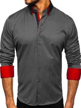 Čierna pánska prúžkovaná košeľa s dlhými rukávmi Bolf Bolf 2751