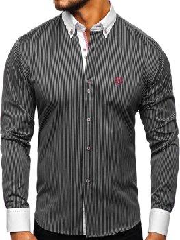 Čierna pánska prúžkovaná košeľa s dlhými rukávmi Bolf Bolf 9717