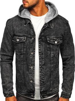 Čierna pánska rifľová bunda s kapucňou Bolf HY958