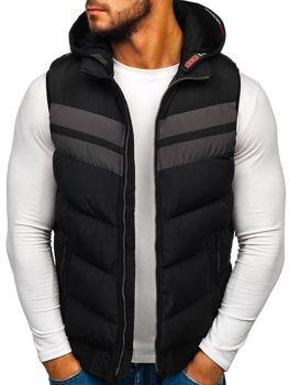 Čierna pánska vesta s kapucňou BOLF 5803