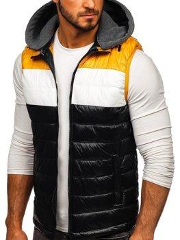 Čierna pánska vesta s kapucňou Bolf 6105