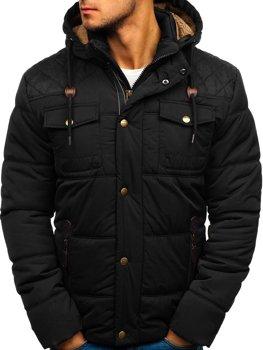 a3b1c7abad Čierna pánska zimná bunda BOLF 1665