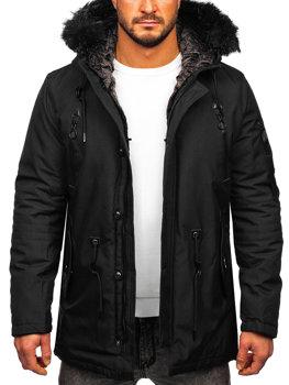 Čierna pánska zimná bunda parka BOLF 1068