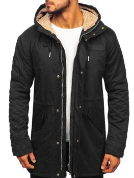 Čierna pánska zimná bunda parka BOLF EX838 a3e7ada5d91