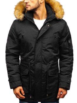 Čierna pánska zimná bunda parka BOLF R102