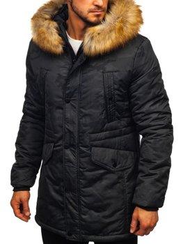 Čierna pánska zimná bunda parka Bolf  JK339