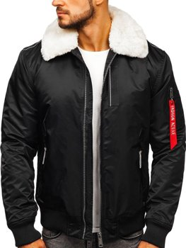 Čierna pánska zimná pilotná bunda Bolf 1787