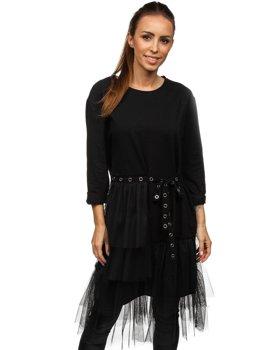 Čierne dámske šaty s potlačou Bolf 30655