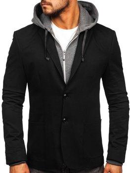 Čierne pánske ležérne sako s kapucňou Bolf 66