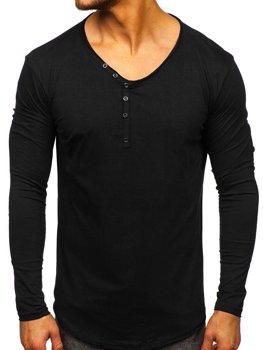Čierne pánske tričko s dlhými rukávmi bez potlače Bolf Bolf 5059