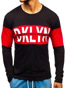 Čierne pánske tričko s dlhými rukávmi s potlačou BOLF XXS1090