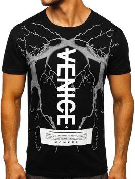 Čierne pánske tričko s potlačou BOLF 10872