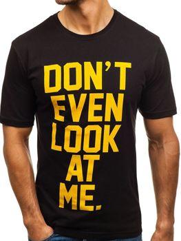 Čierne pánske tričko s potlačou BOLF 6294