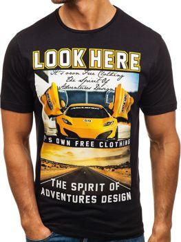 Čierne pánske tričko s potlačou BOLF 6296