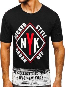 Čierne pánske tričko s potlačou BOLF 6305