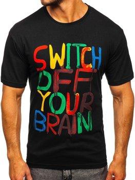 Čierne pánske tričko s potlačou Bolf 1181