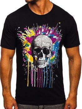 Čierne pánske tričko s potlačou Bolf 142170
