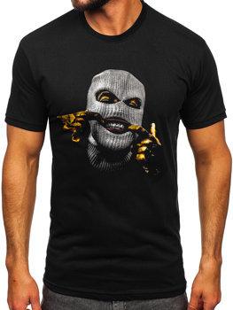 Čierne pánske tričko s potlačou Bolf 142172