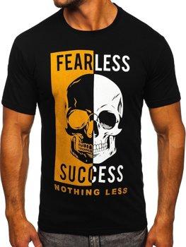 Čierne pánske tričko s potlačou Bolf 142173