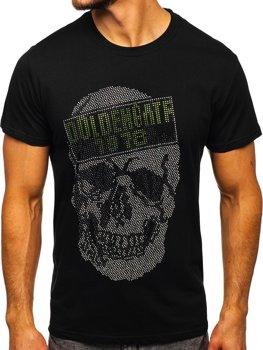 Čierne pánske tričko s potlačou Bolf KS2108