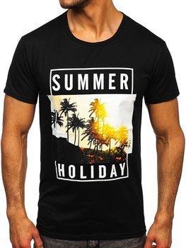 Čierne pánske tričko s potlačou Bolf KS2330