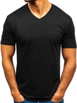 Čierne pánske tričko s výstrihom do V bez potlače BOLF 172010-A