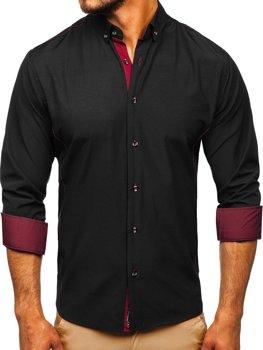 Čierno-bordová pánska elegantá košeľa s dlhými rukávmi BOLF 5722-1