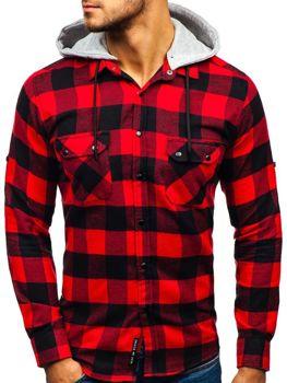 318596a2d9d0 Čierno-červená pánska flanelová košeľa s dlhými rukávmi BOLF 1031
