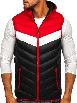 Čierno-červená pánska prešívaná vesta s kapucňou Bolf HDL88004