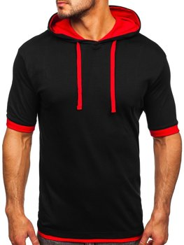 Čierno-červené pánske tričko bez potlače Bolf 08
