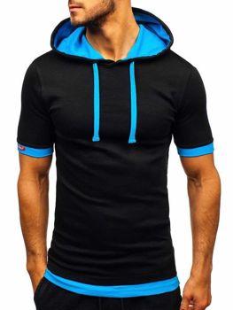 e021fd235a75 Čierno-modré pánske tričko s kapucňou BOLF 08-1