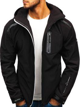 Čierno-šedá pánska softshellová bunda BOLF A5526