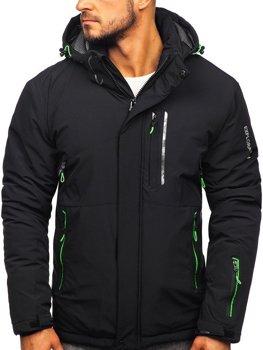 Čierno-zelená pánska lyžiarská zimná bunda Bolf 1910