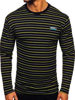 Čierno-zelené pánske prúžkované tričko s dlhými rukávmi Bolf  1519-A
