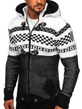 Čierny hrubý pánsky sveter/bunda so zapínaním na zips s kapucňou Bolf 2061