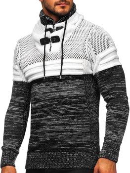 Čierny hrubý pánsky sveter so stojačikovým golierom Bolf 2058