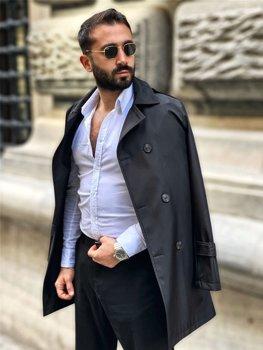 Čierny pánsky dvojradový kabát typu trenčkot s vysokým golierom a opaskom Bolf 0005