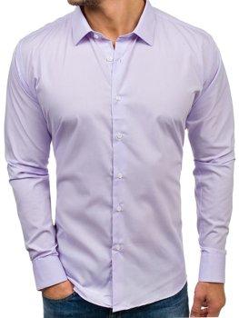 Fialová pánska elegantá košeľa s dlhými rukávmi BOLF TS100