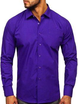 Fialová pánska elegantná košeľa s dlhými rukávmi Bolf 0003