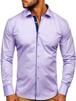 Fialová pánska elegantná košeľa s dlhými rukávmi Bolf TS50-1