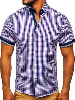 Fialová pánska károvaná košeľa s krátkymi rukávmi BOLF 4510